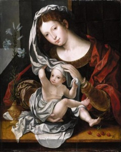 Jan_Gossaert_-_the_virgin_and_child_with_white_lily_and_cherries