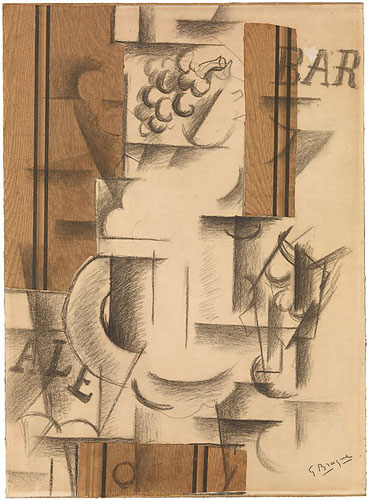 Georges Braque (French, Argenteuil 1882–1963 Paris) Fruit Dish and Glass, Sorgues, autumn 1912 Charcoal and cut-and-pasted printed wallpaper with gouache on white laid paper; subsequently mounted on paperboard; 24 3/4 × 18 in. (62.9 × 45.7 cm) The Metropolitan Museum of Art, New York, Promised Gift from the Leonard A. Lauder Cubist Collection (SL.17.2014.1.8) http://www.metmuseum.org/Collections/search-the-collections/490612